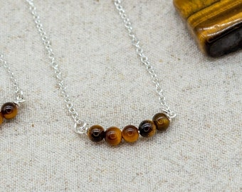 Tigers Eye Beaded Bar Necklace | Sterling Silver | Silver Plated