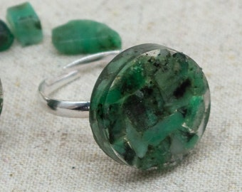 Emerald Rock Resin Disc Adjustable Rings | Silver Plated