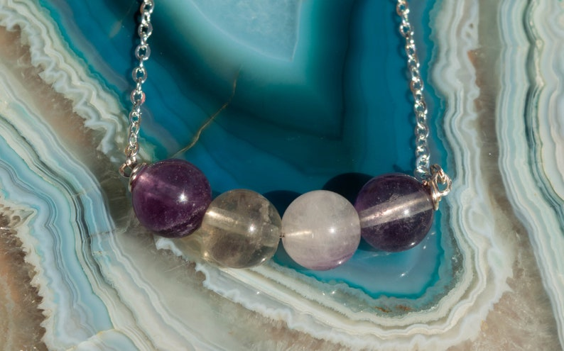 Fluorite Bar Necklace Silver Plated