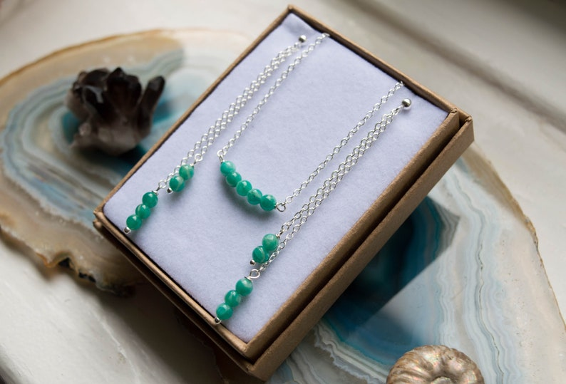 Russian Amazonite Beaded Necklace & Earrings Gift Set image 0