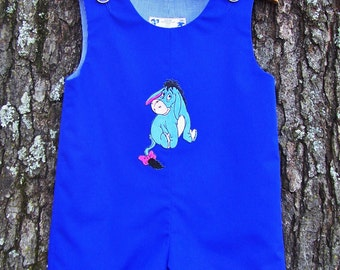 Blue Boys Jon Jon, Infant Romper, Disney Inspired, Size 6 mo., Baby Boy Clothing, Special Occasion, Appliqued