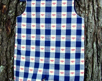 SAMPLE - PRICE REDUCED !!  Airplane Jon Jon for Toddler Boy, Navy and White Plaid Suit with Red Airplanes, Toddler Boy Shortall, Size 2