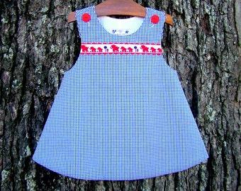 Classic Toddler Blue Seersucker A-Line Jumper, Elephant Braid Trim,  Baby Girl Clothing, Infant Dress