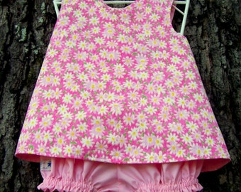 PRICE REDUCED ! ! Pink Infant Play Outfit, Toddler Crossover Sundress, Baby Girl Jumper, Ruffled Bloomers, Reversible Girls Clothing, Size 1