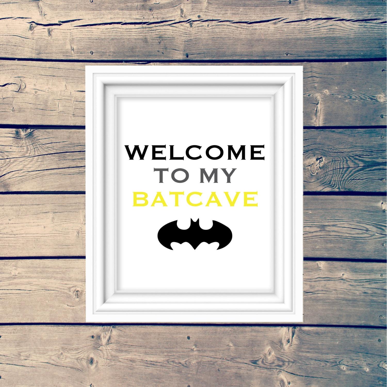 Welcome to my batcave printable wall art nursery art print etsy