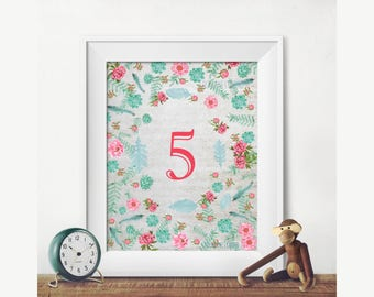 Printable Birthday Number 5 Poster Girls Party Decorations Year Old Room Decor Greenery Wall Art Jpg Pdf 8x10 14x18
