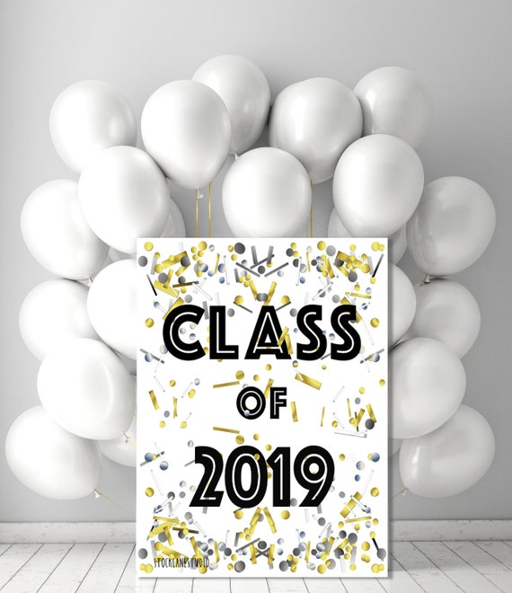 photo regarding Printable Graduation Decorations called Senior Cl of 2019 Printable, Commencement Social gathering decorations, Signal for graduate gold silver confetti poster 20x24 5x7 desk indication