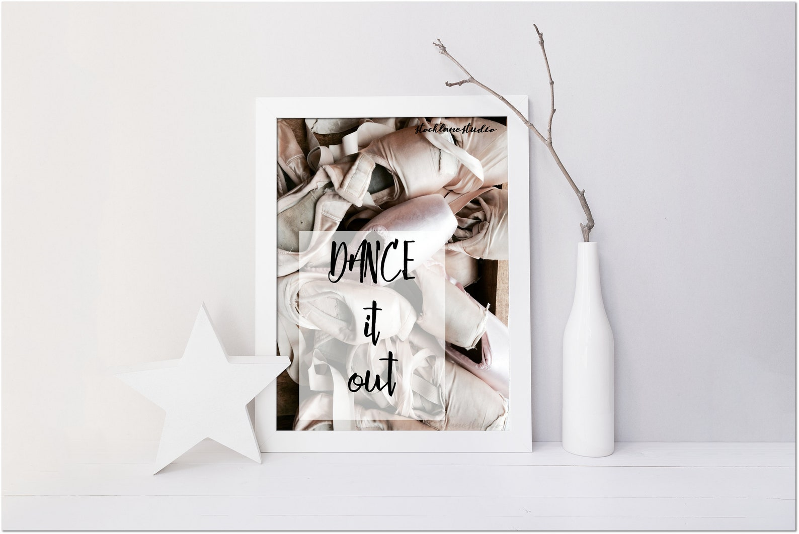 dance it out printable ballet wall art instant download dance quote ballerina birthday gift, pink pointe shoes jpg pdf