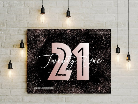 Printable 21st Birthday Decorations Digital Black Rose Gold