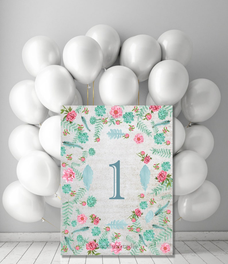 First Birthday Party Table Sign Printable Teal Flower