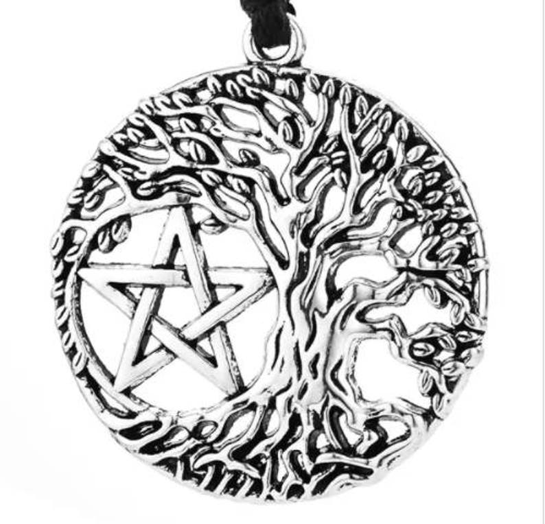 Tree of Life Pendant Pentacle Pentagram Wicca Pagan Necklace
