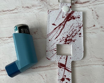 Blood Splatter Inhaler Case, inhaler cover, inhaler holder, inhaler pump cover, gift idea, medical gift, asthma inhaler case, Halloween