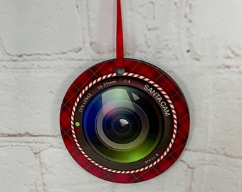 Personalised Christmas Tree Santa Camera Hanging Ornament, Double Sided, Sublimation Ink Printed, Wooden Tree Decoration, Christmas Hanger