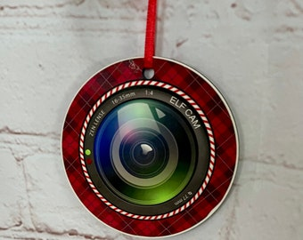 Personalised Christmas Tree Elf Camera Hanging Ornament, Double Sided, Sublimation Ink Printed, Wooden Tree Decoration, Christmas Hanger