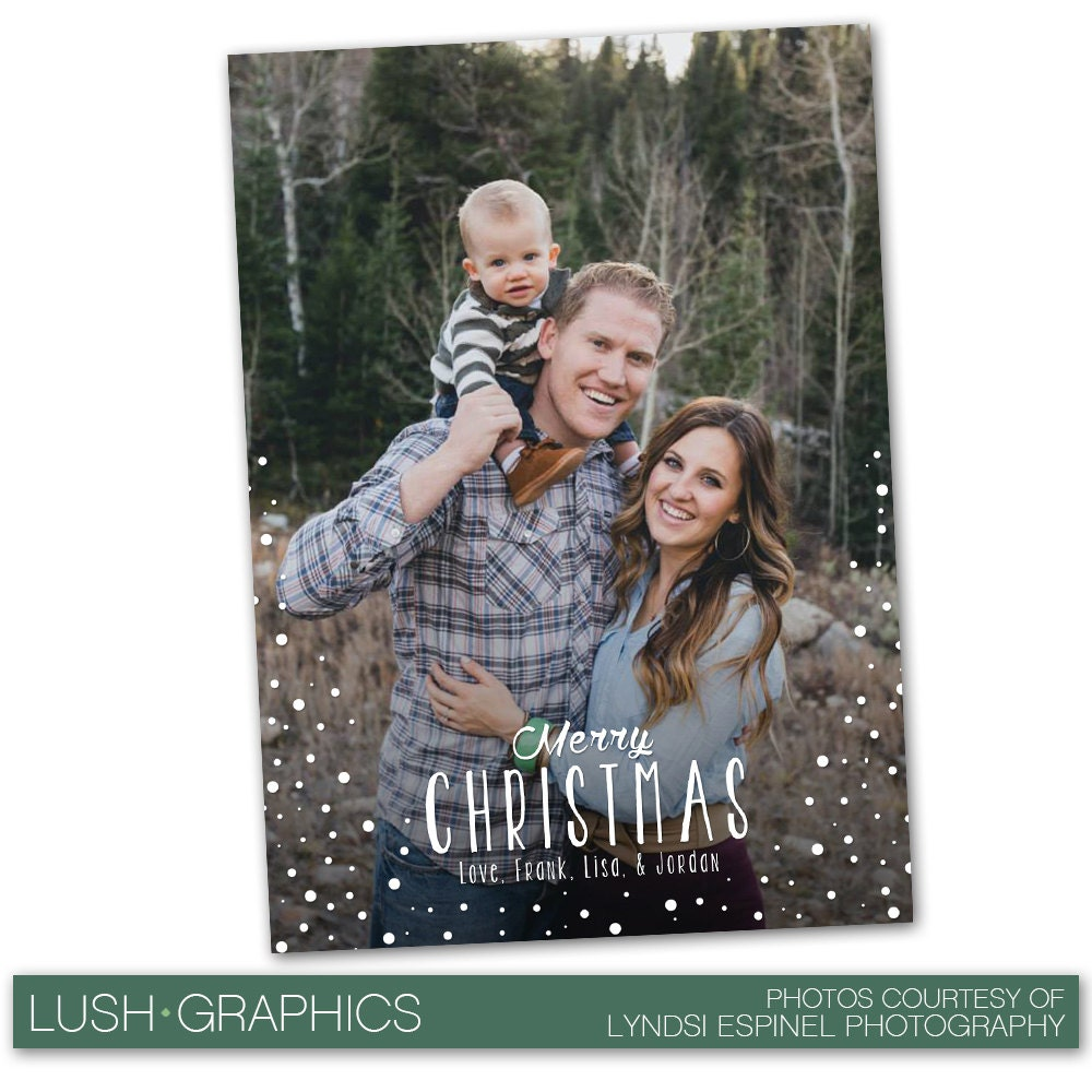 PSD Photoshop Template Family Christmas Holiday Card Template | Etsy