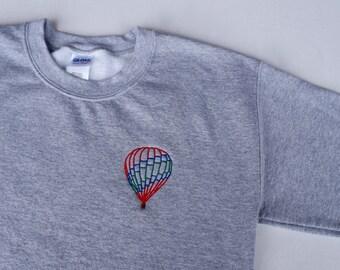 HOT AIR BALLOON Embroidered Crewneck Sweatshirt