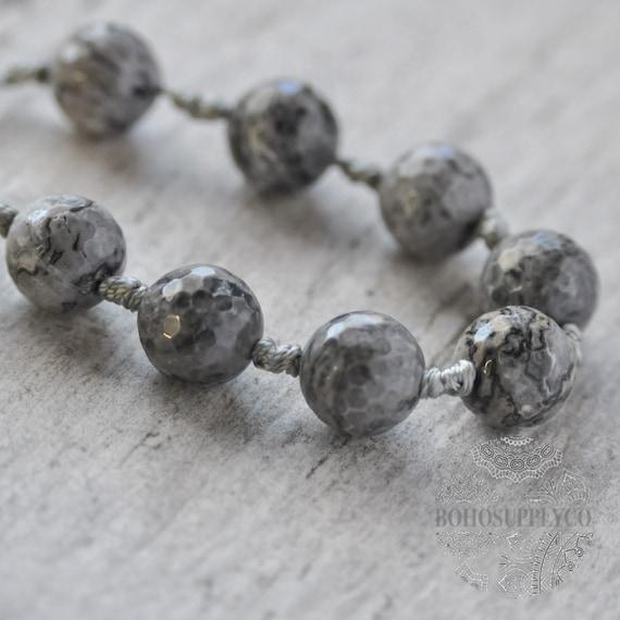 12 ovales cristal perlas en gris 12 mm