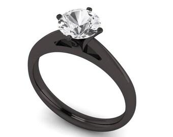 Black Gold Engagement Ring Etsy
