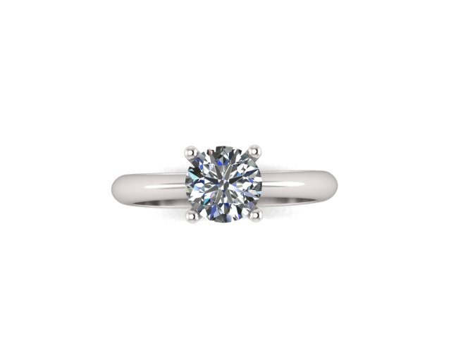 Natural White Sapphire Enement Rings   14k White Gold Solitaire Ring Gold Engagement Ring 6mm Round