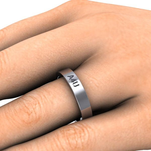 Custom Ring Design 14k White Gold Band Name Ring Stackable Ring