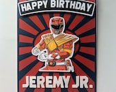 Personalized Power Ranger Card For Kids  Birthday/ handmade 3 D Birthday card
