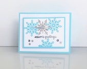 Christmas card with silver snowflakes. 3D Merry Christmas greetings card.