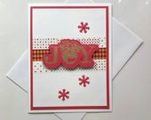 Handmade Christmas joy card. Gold embossed Holidays greetings card. Set of Cards.