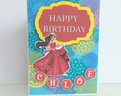 Disney Princess card Elena of Avalor inspired Birthday card. Kids name card. Custom name card for kids. Disney princess birthday .