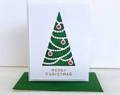 3D Christmas card with Christmas tree. Rhinestone decorated Holiday cards
