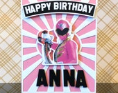 Personalized Pink power ranger birthday card handmade /dimensional/power ranger girl card
