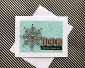 Dimensional Christmas Card with silver snowflake and snowflake background