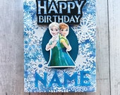 Personalized Frozen Birthday card. Handmade dimensional Disney princess card