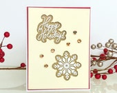 3D Christmas card with snowflakes on gold background. Christmas card and Happy Holidays greetings