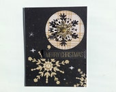 Handmade 3D Christmas cards set with layered snowflakes. Set of 4 assorted snowflakes Christmas cards.