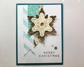 Christmas Cards with Banners and snowflakes layer . 3d Christmas cards .
