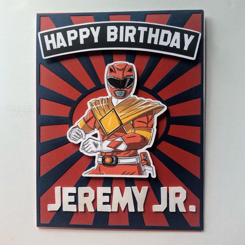 Personalized Power Ranger Card For Kids  Birthday/ handmade 3 image 0