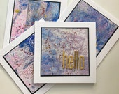 Set of 4 Hello cards. Mini note card set. Blank note cards