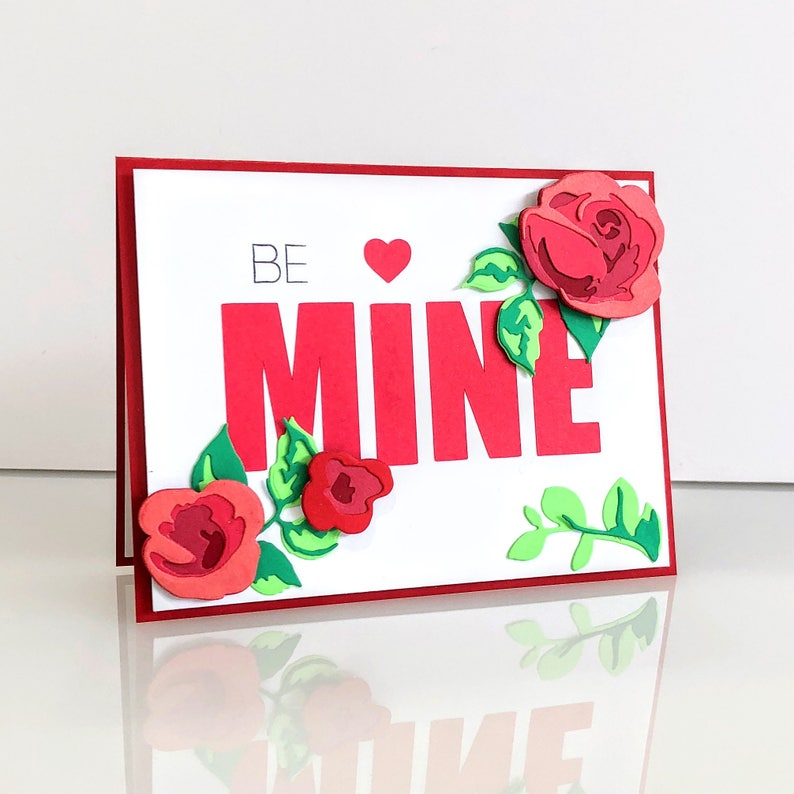 Be mine Card for her. 3D valentine's day card.  Red rose I image 0