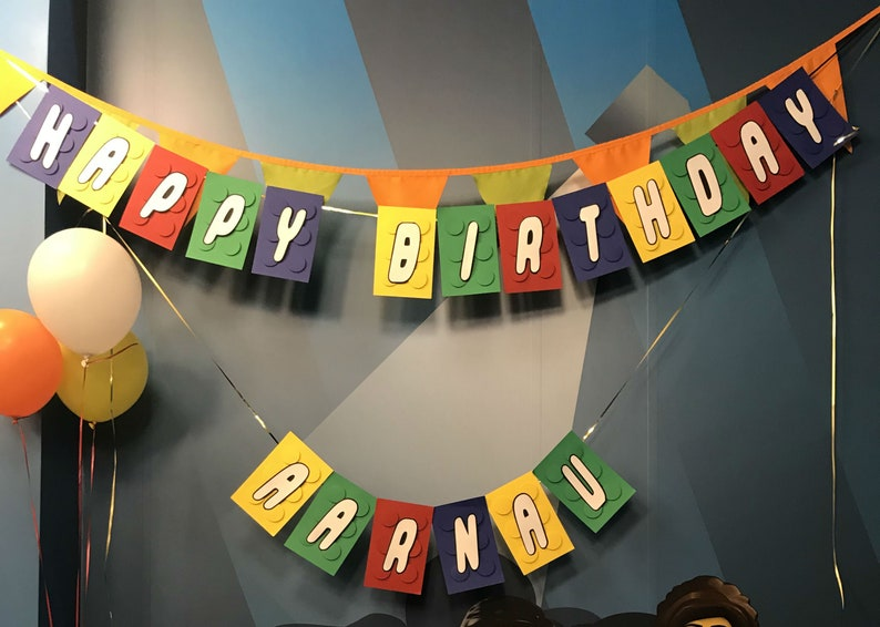 Name birthday party  banner for kids.Personalized lego banner image 0