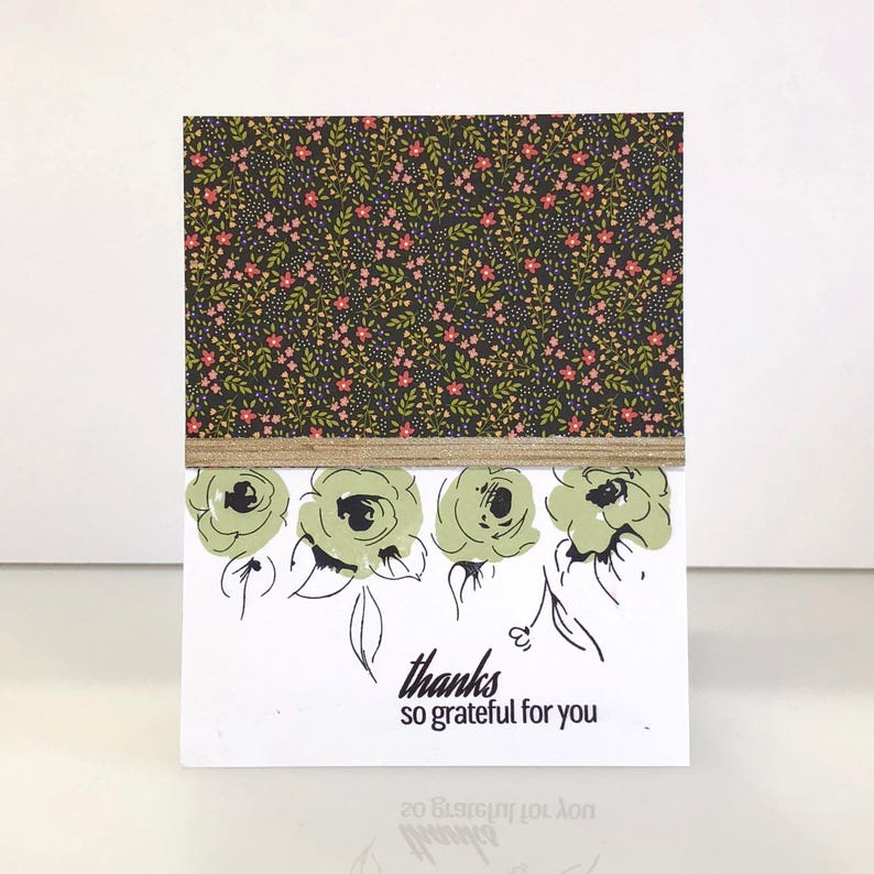 Handmade Thank you card. Green rose thank you card. Floral image 0