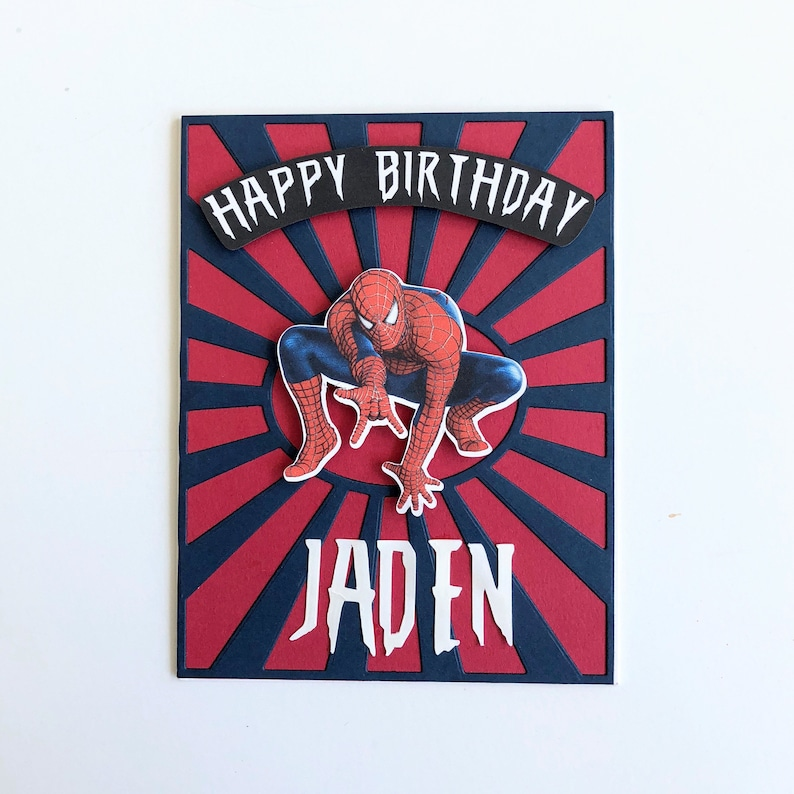 Personalized Spider-Man birthday card for kids. Spider-Man image 0