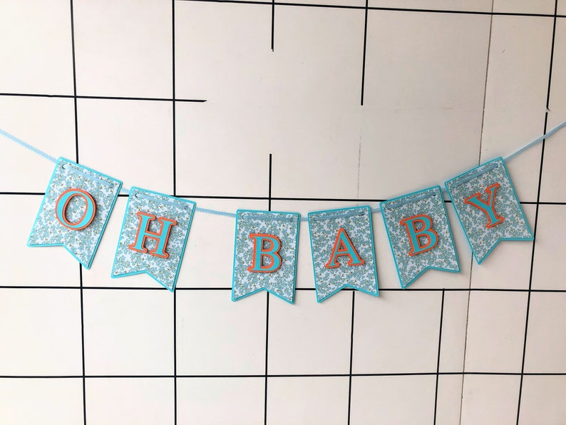 Oh baby banner. Handmade banner for baby shower. Party banner. image 0