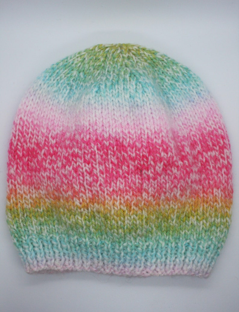 Rainbow hand knitted toddlers beanie hat age 1-3 years old  2653f8b19a4