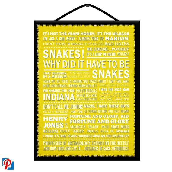 INDIANA JONES Film & Tv Collection Typography Wooden Poster Plaque / Sign  Handcrafted with Free U K Delivery (9 Colours Available)