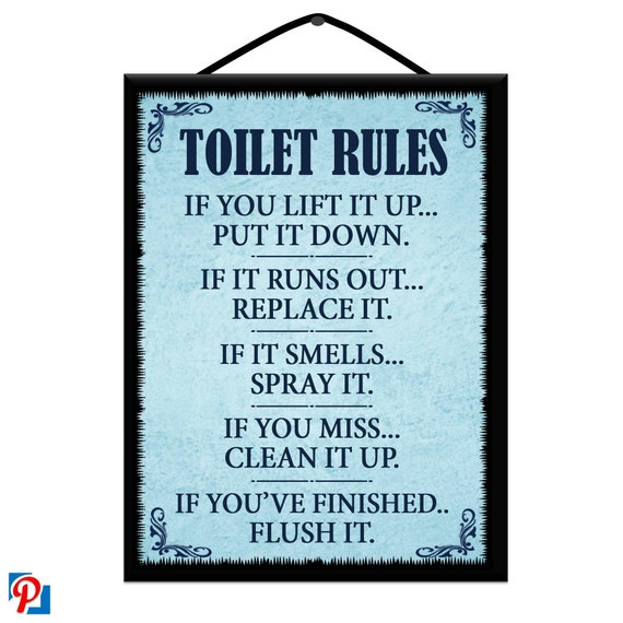 TOILET RULES Wooden Poster Plaque/Sign Handmade with Free U K Delivery