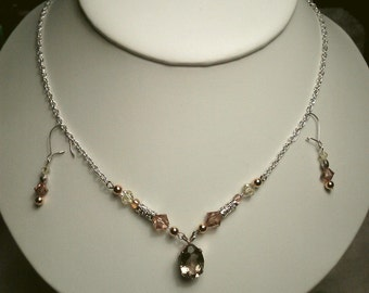 Genuine faceted Smokey Quartz necklace with sparkle bead accents with earrings