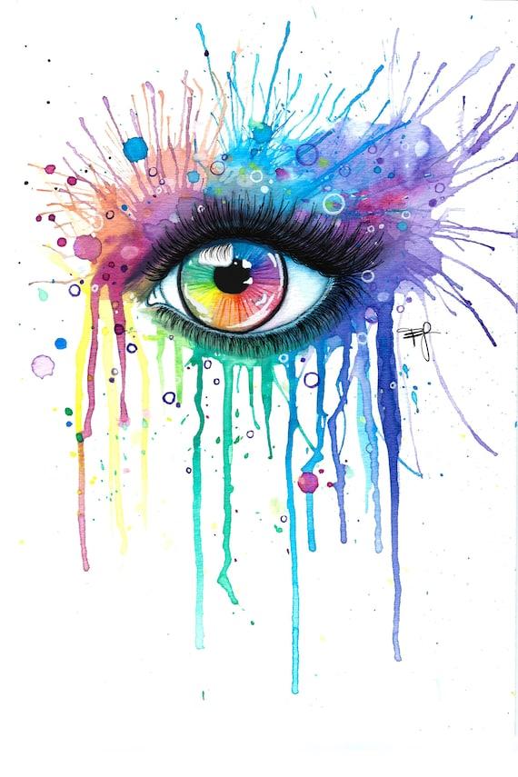 PRINT Rainbow Eye Colorsplash Makeup Colorful Abstract | Etsy