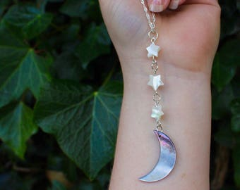 Moon & Star Necklace - carved shell - silver plated - handmade to order
