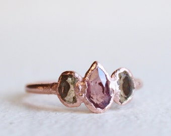 Pink Tourmaline & Citrine Teardrop Ring - Raw - Handmade - Copper - Natural - Electroformed - Uk ring size M /US size 6.5 - Rustic Facet Cut