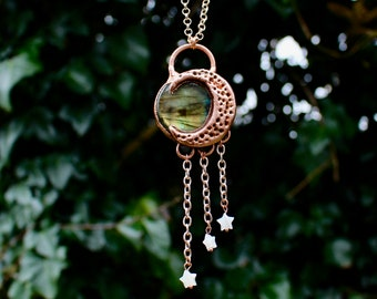 Labradorite crystal crescent moon necklace with shell stars - handmade - copper - celestial - moonchild - rose gold - rainbow